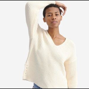 Everlane Texture Cotton V-Neck Sweater